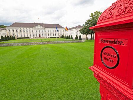 bellevue: Bellevue Castle in Berlin with red fire alarm box