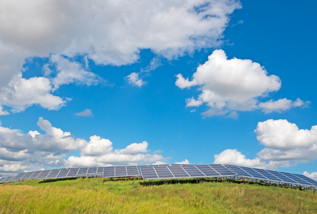 megawatt: solar panels under a blue summer sky