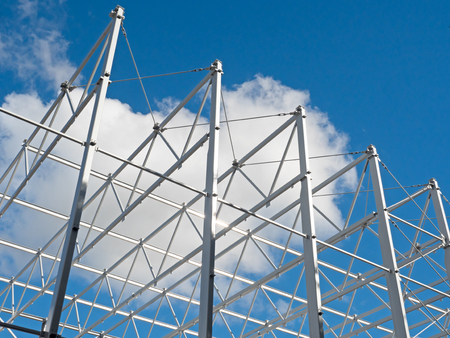 struts: Roof structure of steel against blue sky