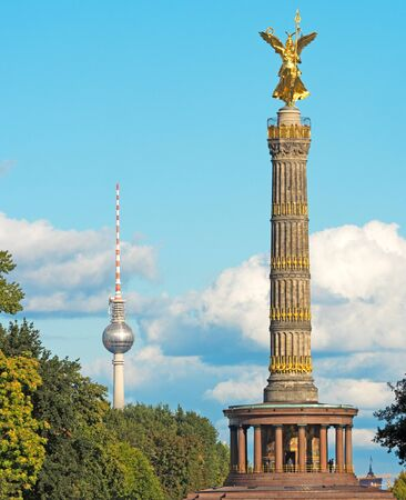 relational: TV tower and Victory Column in Berlin