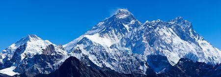 Mount Everest with Lhotse, Nuptse and Pumori Stock Photo
