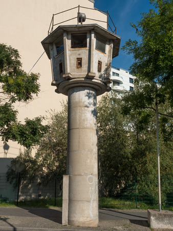 watchtower: former watchtower of the GDR border in Berlin Stock Photo
