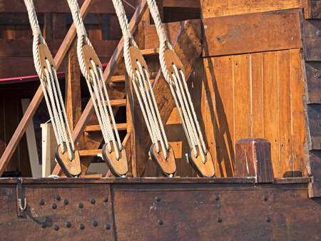 shrouds: Rigging of an old sailing ship detail