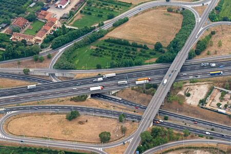 highway traffic: Highway with little traffic seen from above