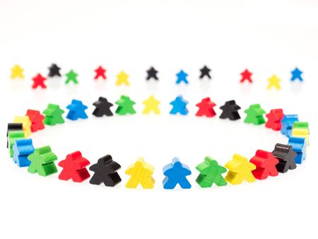 exclude: colorful figures forming a circle on white