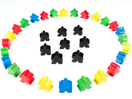 colorful figures surround black figures on white