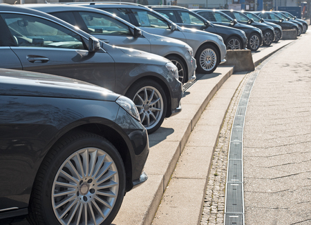 Cars for sale in a diagonal row