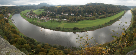 River Elbe from Bastei in Saxon Switzerland Stock Photo