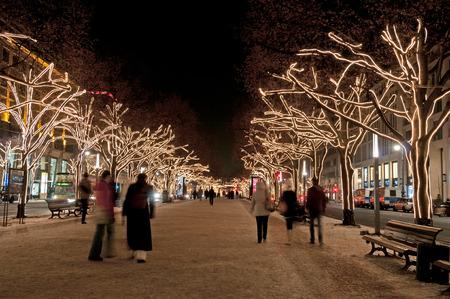 Berlin in Christmas illumination Stock Photo