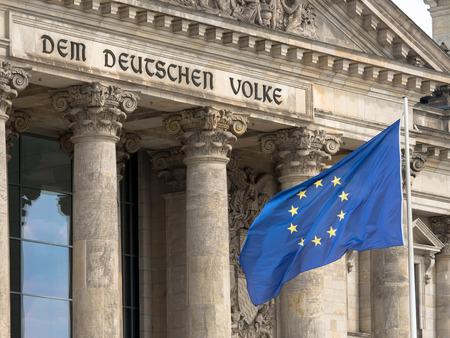 Reichstag building in Berlin with EU flag Editorial
