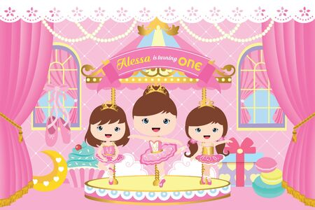 Carousel Party Backdrop with cute ballerina Фото со стока - 132182486