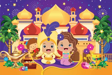Illustration of Arabian fairy tale. Arabian prince and princess at the castle