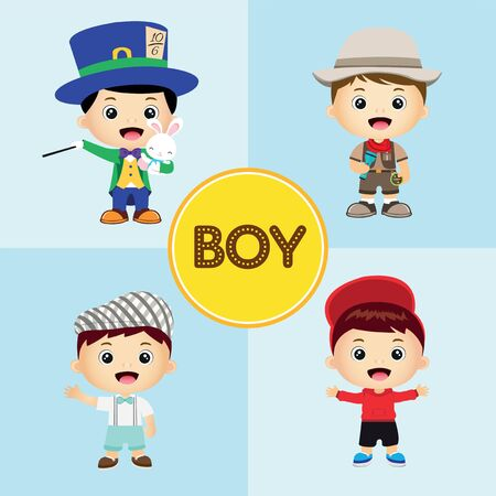 set of cute cartoon boys