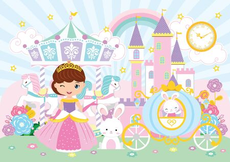 Princess and Carousel Party backdrop Stock Illustratie