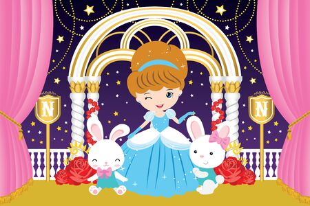 Princess and Bunnies inside the castle Stock Illustratie