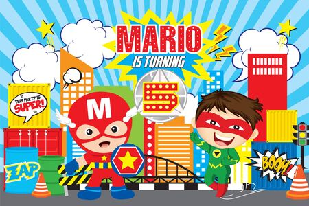 Superheroes party banner Illustration