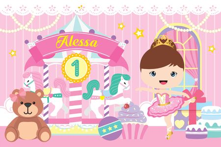Carousel Party Banner with cute ballerina and bear Фото со стока - 131679336