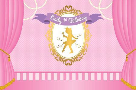 Royal Party Banner with cute ballerina