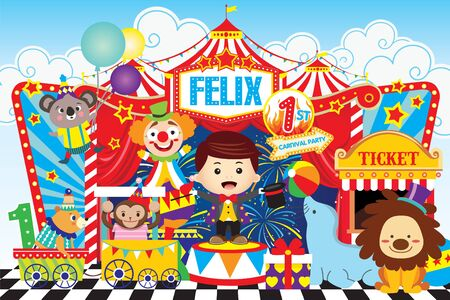 Banner de fiesta de circo con chico lindo y amigos.