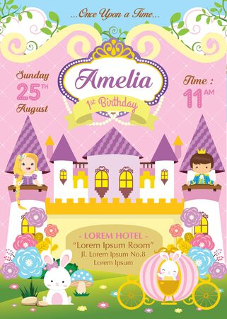 Birthday invitation with cute prince and princess Vecteurs