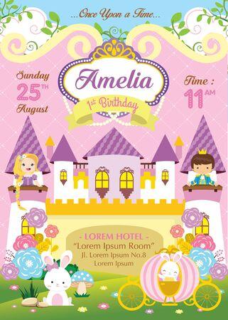Invitación de cumpleaños con lindo príncipe y princesa. Ilustración de vector