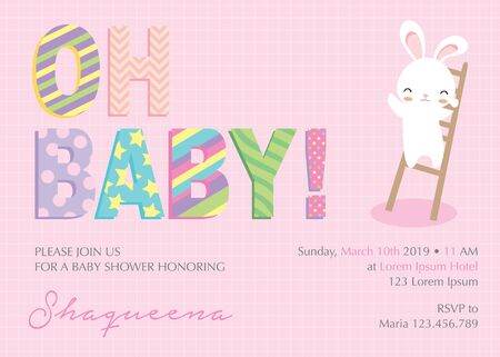 Baby shower invitation with cute bunny Illustration