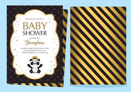 Baby shower invitation with cute panda