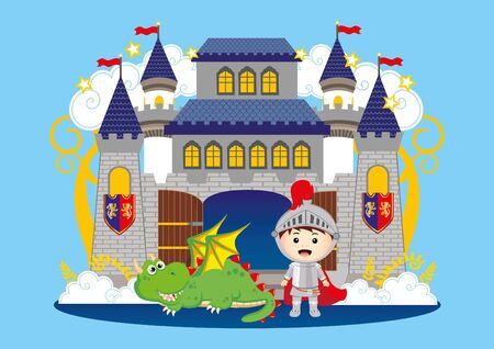 Prince and the dragon in the castle