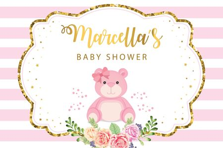 Baby Shower Party Backdrop with pink bear