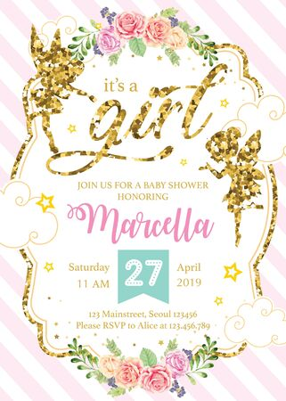 Baby Shower invitation with fairies in gold glitter Illustration
