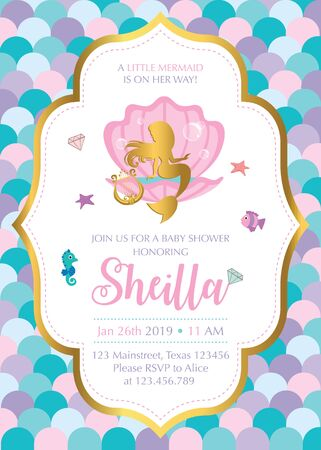 Baby Shower invitation with mermaid and friends
