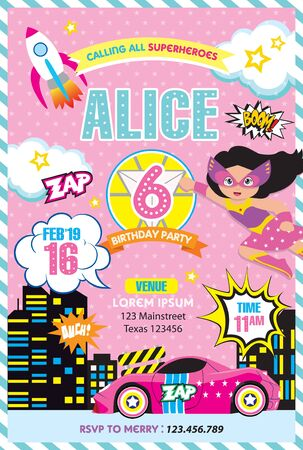 Girl Superheroe Birthday invitation Illustration