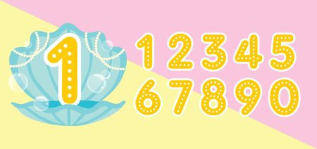 numbers in cute sea shell with pearl and water bubbles