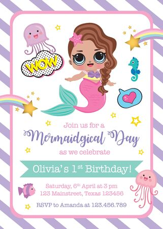 First Birthday invitation with cute mermaid