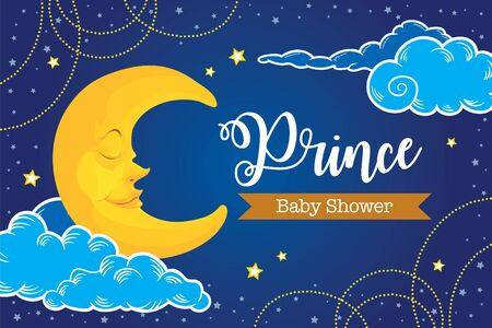 Twinkle twinkle little star with cute moon for baby shower backdrop party template Vector Illustratie