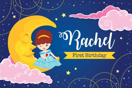 Twinkle twinkle little star with cute princess on the moon for birthday or baby shower party backdrop template