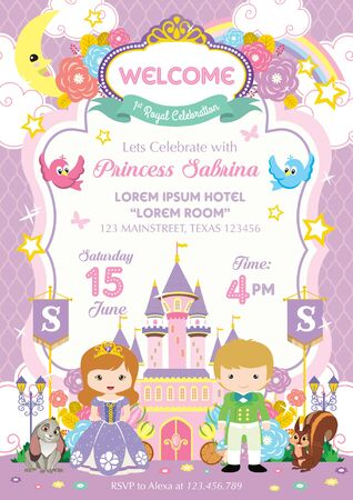Royal Party Invitation with prince and princess
