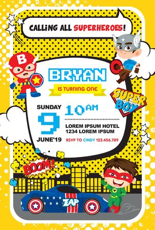 Calling all Superheroes! Superheroes birthday invitation