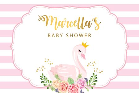 Baby shower backdrop with cute swan and flower Illustration