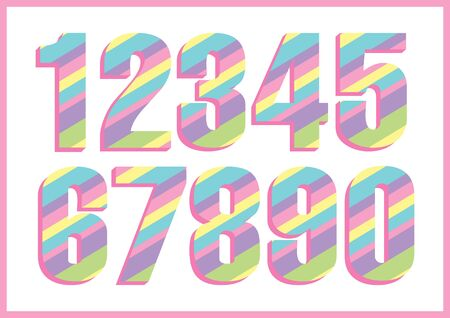 Rainbow numbers for party decoration, label, headline, poster, sticker.