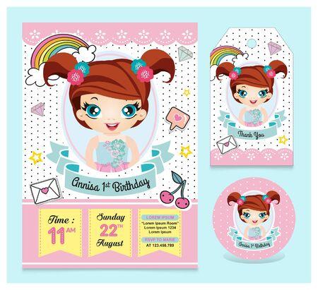 Birthday invitation set with cute girl