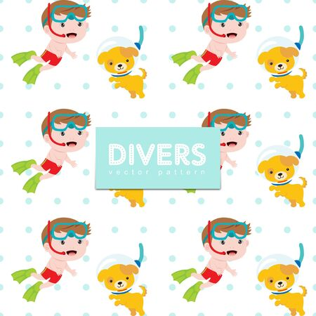 Seamless vector pattern with cute boy and dog