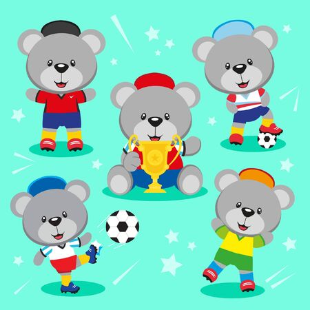 Set of cute bear cartoon playing soccer