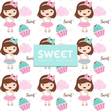 Cute seamless pattern with cute girl and cupcake Ilustrace