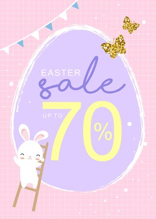 Easter sale poster with cute bunny