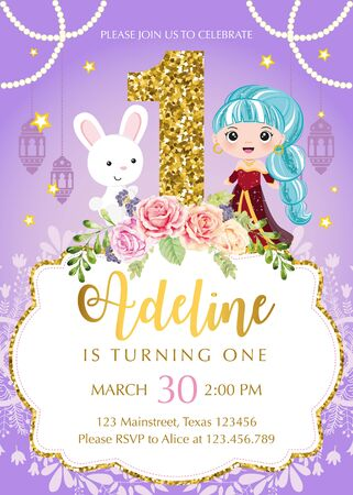 Birthday invitation with arabian princess and cute bunny