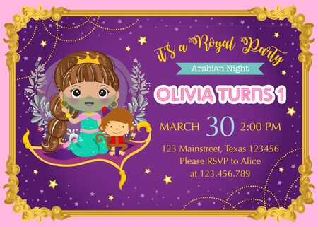Birthday invitation with arabian princess and cute monkey Ilustrace