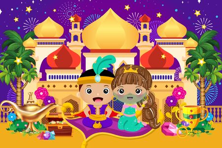 Arabian castle with cute prince and princess