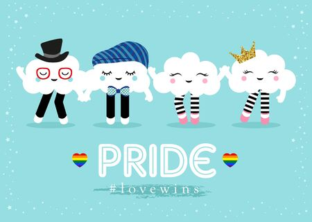 Support LGBT Pride with cute clouds. Freedom. Love. Vector. Template for poster, banner, card.