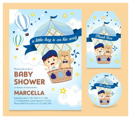 Baby shower invitation set with coaster and thank you tag